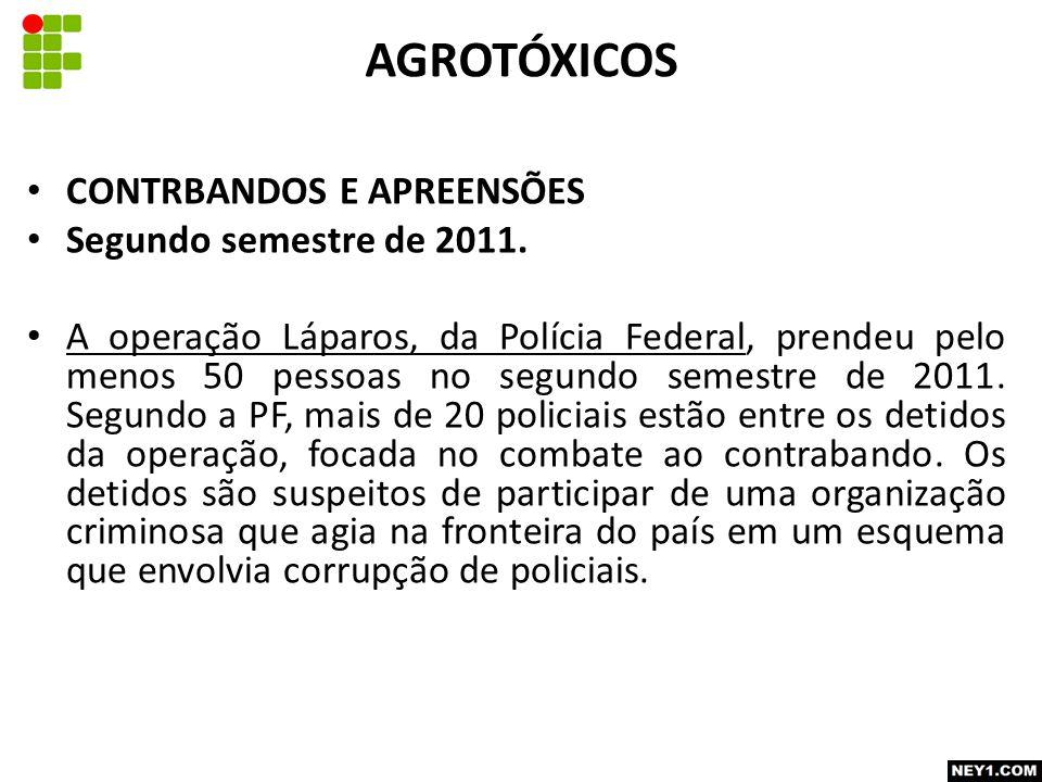 AGROTÓXICOS CONTRBANDOS E APREENSÕES Segundo semestre de 2011.