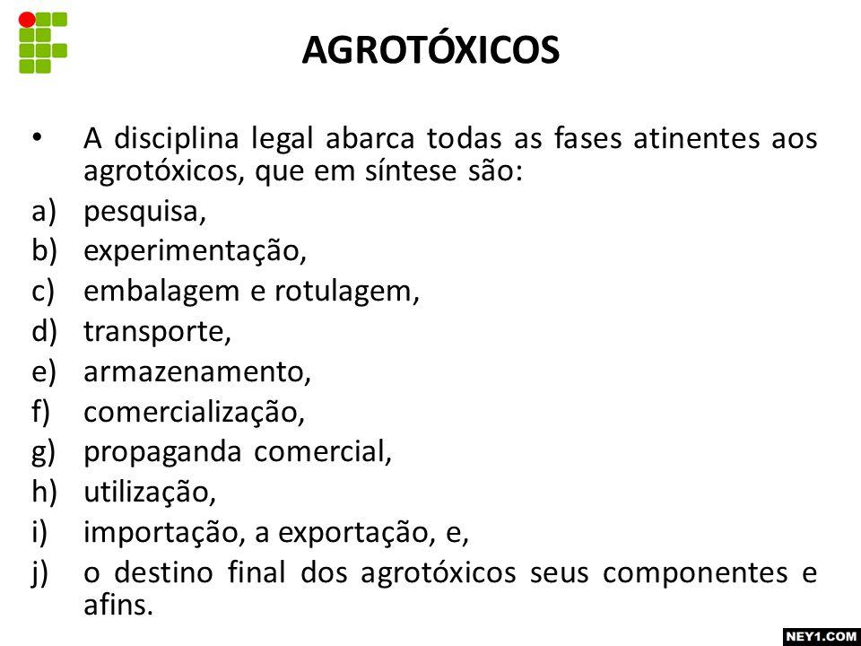 AGROTÓXICOS A disciplina legal abarca todas as fases atinentes aos agrotóxicos, que em síntese são:
