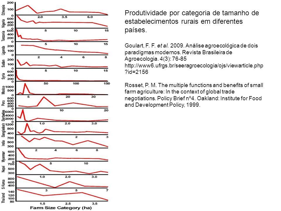 Produtividade por categoria de tamanho de estabelecimentos rurais em diferentes países.
