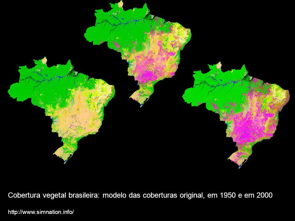 Cobertura vegetal brasileira: modelo das coberturas original, em 1950 e em 2000