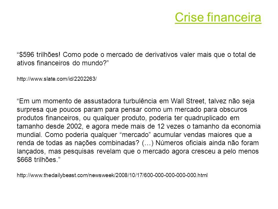 Crise financeira $596 trilhões! Como pode o mercado de derivativos valer mais que o total de ativos financeiros do mundo