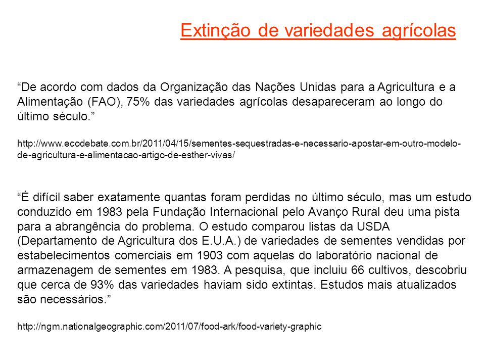 Extinção de variedades agrícolas