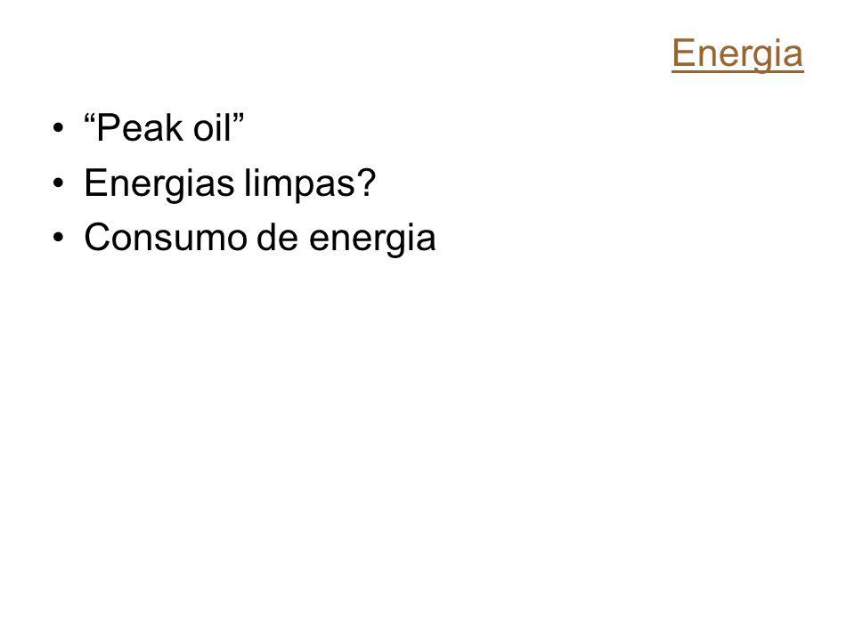 Energia Peak oil Energias limpas Consumo de energia