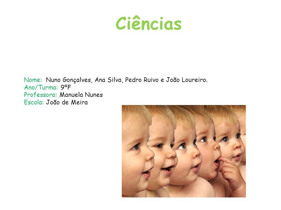 Ciências Nome: Nuno Gonçalves, Ana Silva, Pedro Ruivo e João Loureiro.