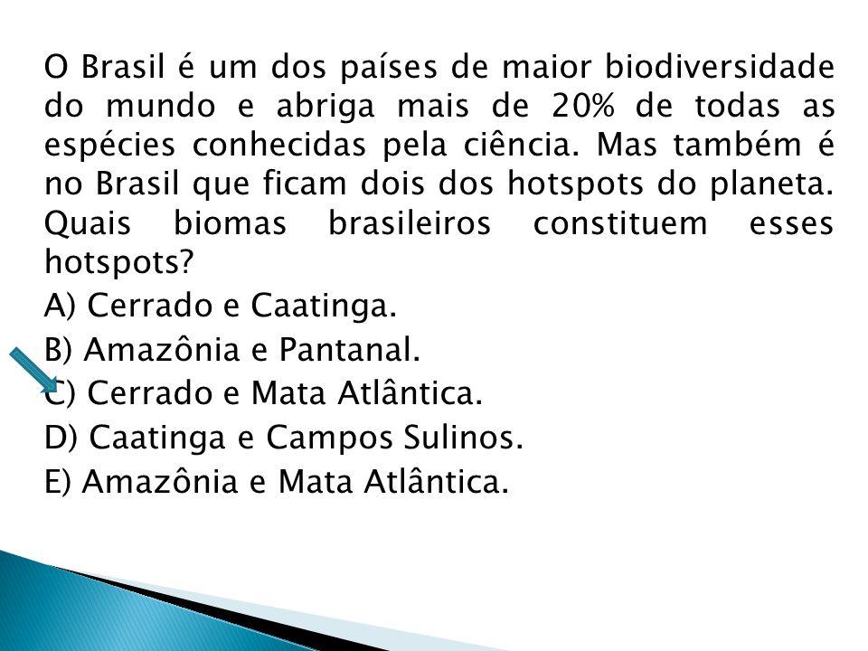 O Brasil é um dos países de maior biodiversidade do mundo e abriga mais de 20% de todas as espécies conhecidas pela ciência. Mas também é no Brasil que ficam dois dos hotspots do planeta. Quais biomas brasileiros constituem esses hotspots