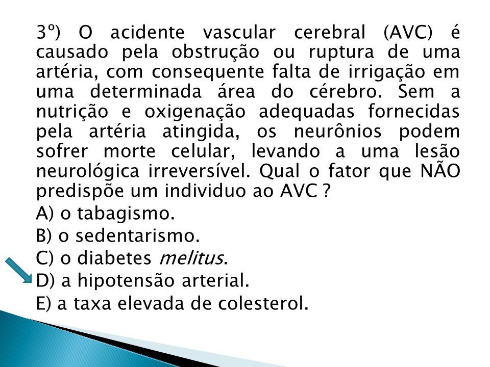 3º) O acidente vascular cerebral (AVC) é causado pela obstrução ou ruptura de uma artéria, com consequente falta de irrigação em uma determinada área do cérebro. Sem a nutrição e oxigenação adequadas fornecidas pela artéria atingida, os neurônios podem sofrer morte celular, levando a uma lesão neurológica irreversível. Qual o fator que NÃO predispõe um individuo ao AVC