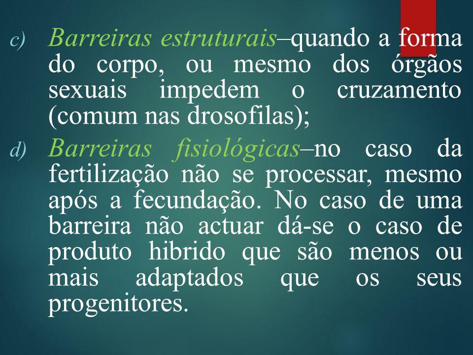 Barreiras estruturais–quando a forma do corpo, ou mesmo dos órgãos sexuais impedem o cruzamento (comum nas drosofilas);