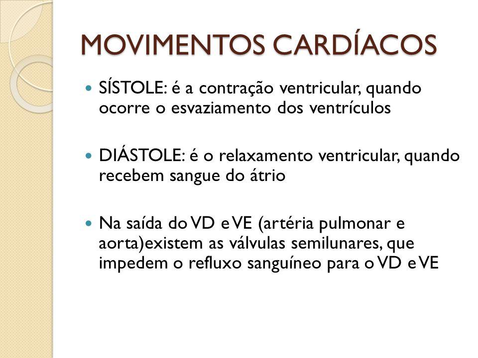 MOVIMENTOS CARDÍACOS SÍSTOLE: é a contração ventricular, quando ocorre o esvaziamento dos ventrículos.