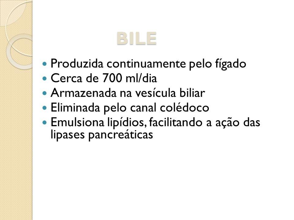 BILE Produzida continuamente pelo fígado Cerca de 700 ml/dia