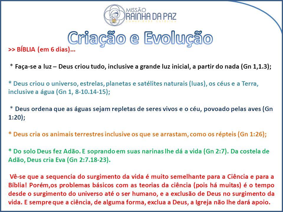 Criação e Evolução >> BÍBLIA (em 6 dias)...