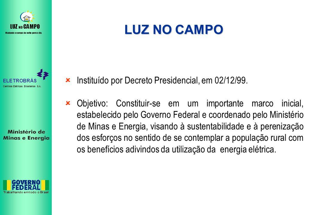 LUZ NO CAMPO Instituído por Decreto Presidencial, em 02/12/99.