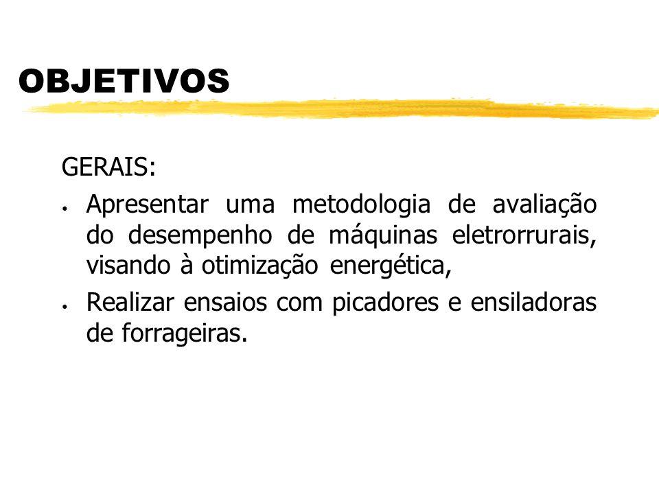 OBJETIVOS GERAIS: Apresentar uma metodologia de avaliação do desempenho de máquinas eletrorrurais, visando à otimização energética,