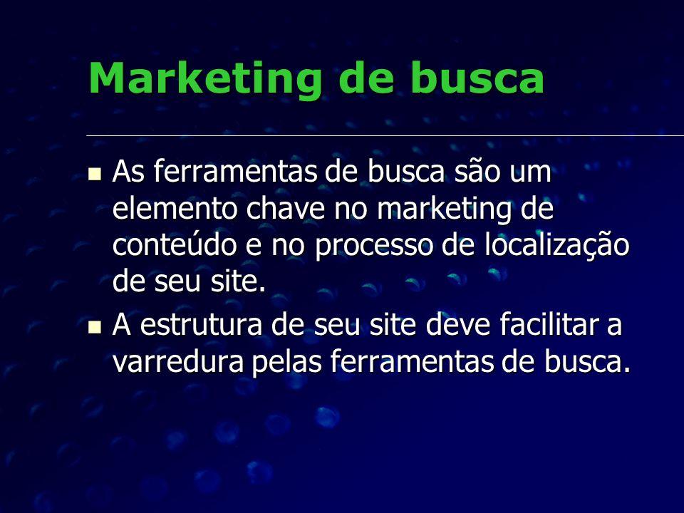 Marketing de busca As ferramentas de busca são um elemento chave no marketing de conteúdo e no processo de localização de seu site.
