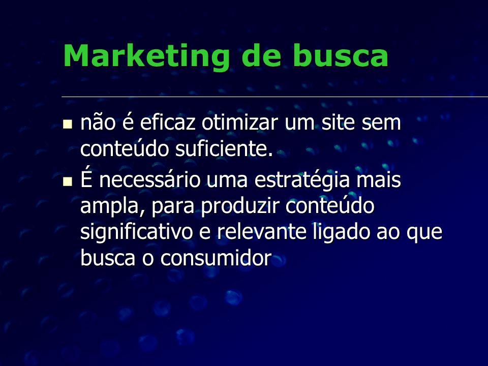 Marketing de buscanão é eficaz otimizar um site sem conteúdo suficiente.