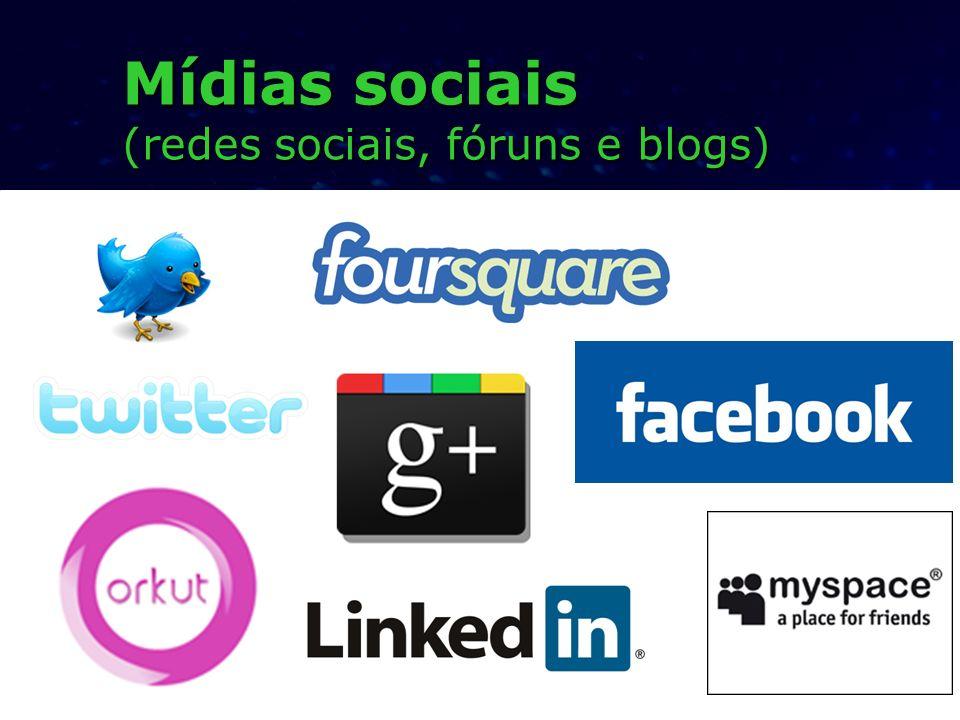 Mídias sociais (redes sociais, fóruns e blogs)
