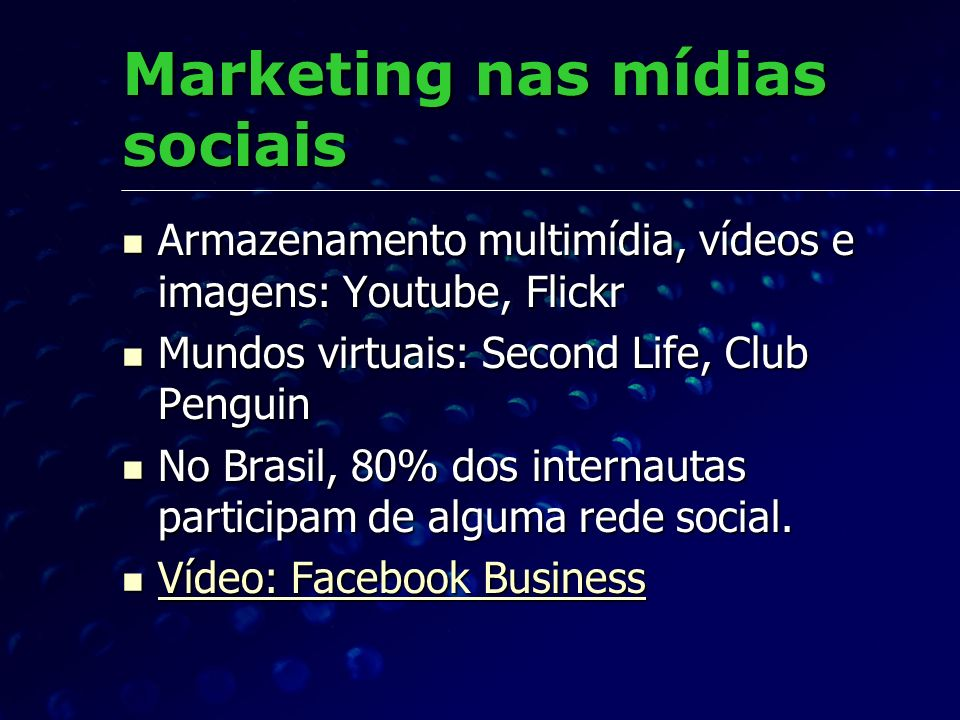 Marketing nas mídias sociais