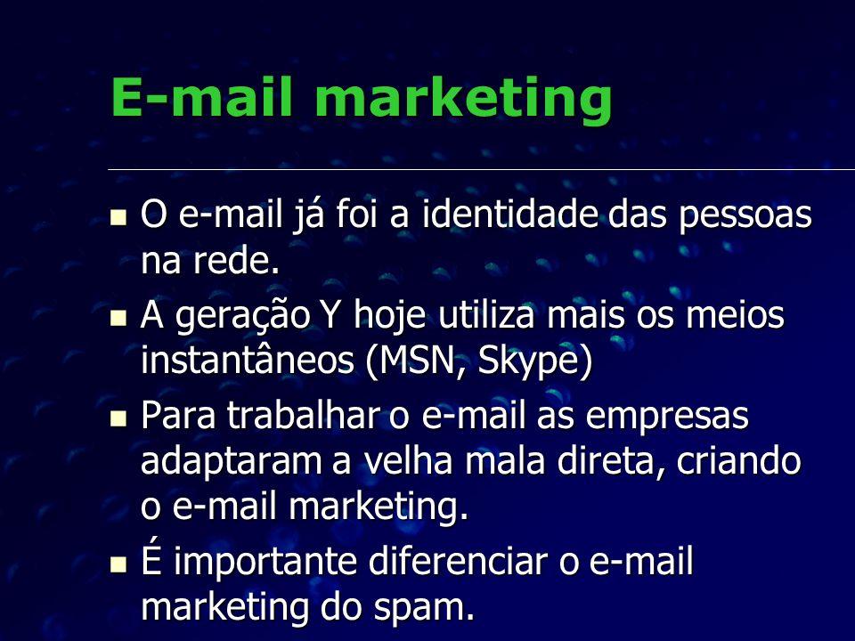 E-mail marketing O e-mail já foi a identidade das pessoas na rede.