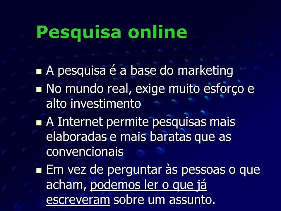 Pesquisa online A pesquisa é a base do marketing