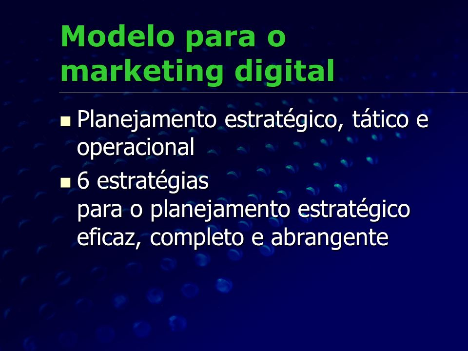 Modelo para o marketing digital