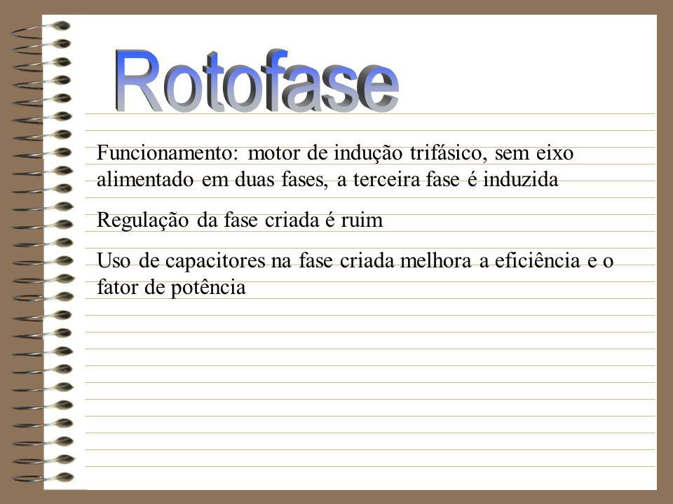 Rotofase Funcionamento: motor de indução trifásico, sem eixo alimentado em duas fases, a terceira fase é induzida.