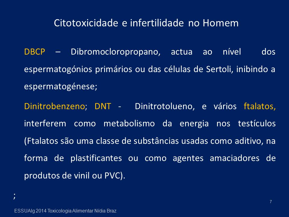 Citotoxicidade e infertilidade no Homem