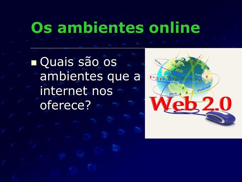 Os ambientes online Quais são os ambientes que a internet nos oferece