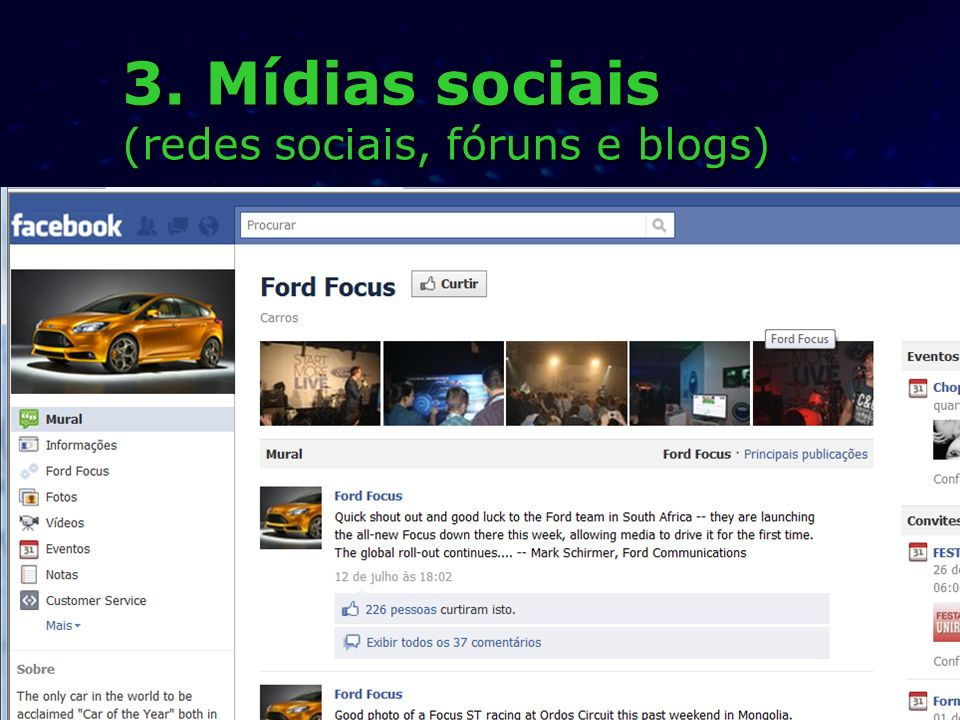 3. Mídias sociais (redes sociais, fóruns e blogs)