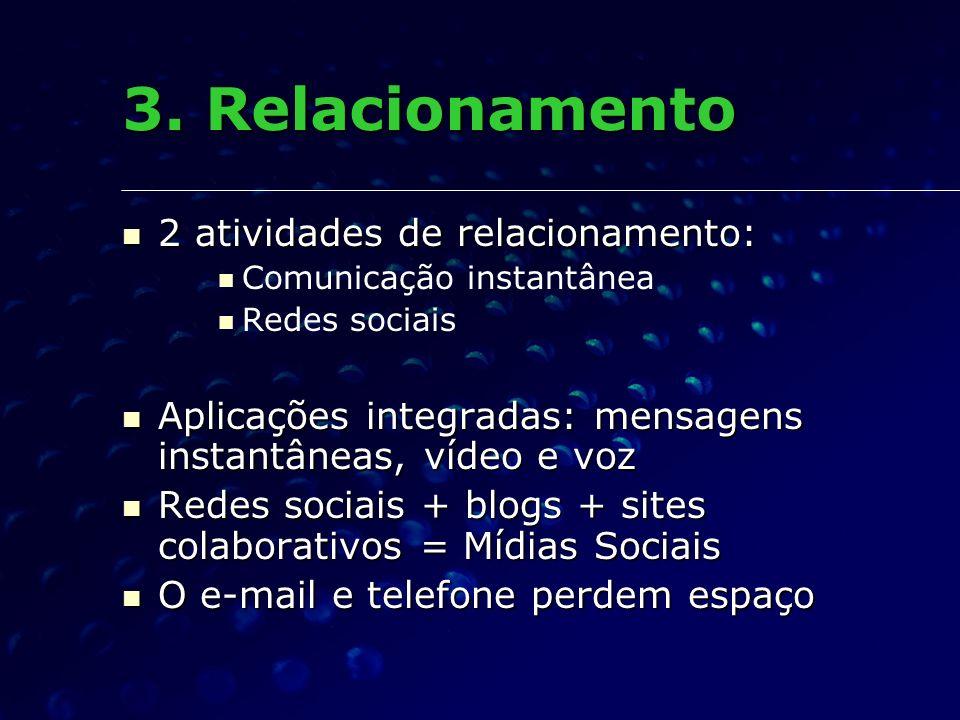 3. Relacionamento 2 atividades de relacionamento:
