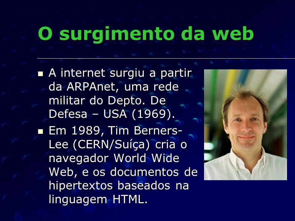 O surgimento da web A internet surgiu a partir da ARPAnet, uma rede militar do Depto. De Defesa – USA (1969).
