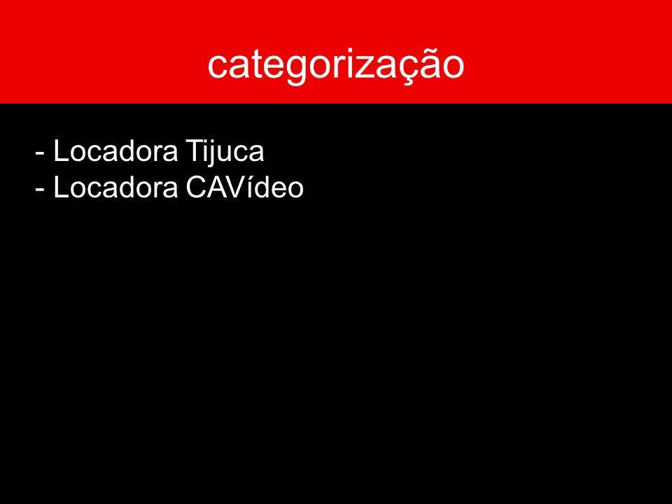 categorização - Locadora Tijuca - Locadora CAVídeo