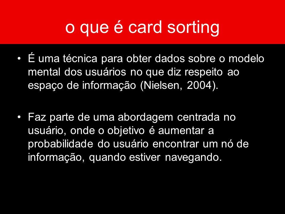 o que é card sorting É uma técnica para obter dados sobre o modelo mental dos usuários no que diz respeito ao espaço de informação (Nielsen, 2004).