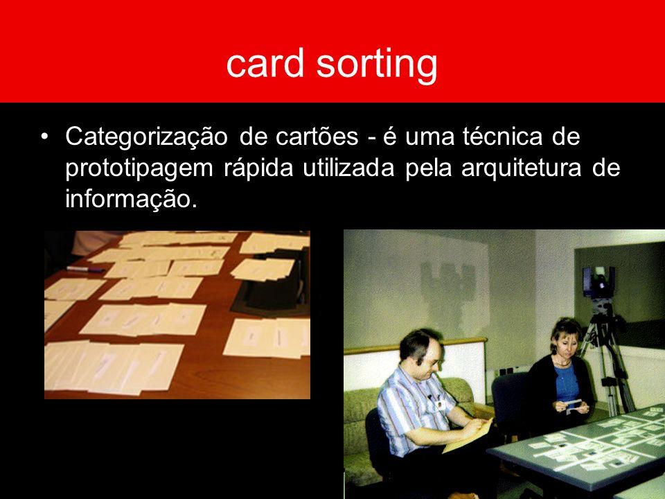card sortingCategorização de cartões - é uma técnica de prototipagem rápida utilizada pela arquitetura de informação.