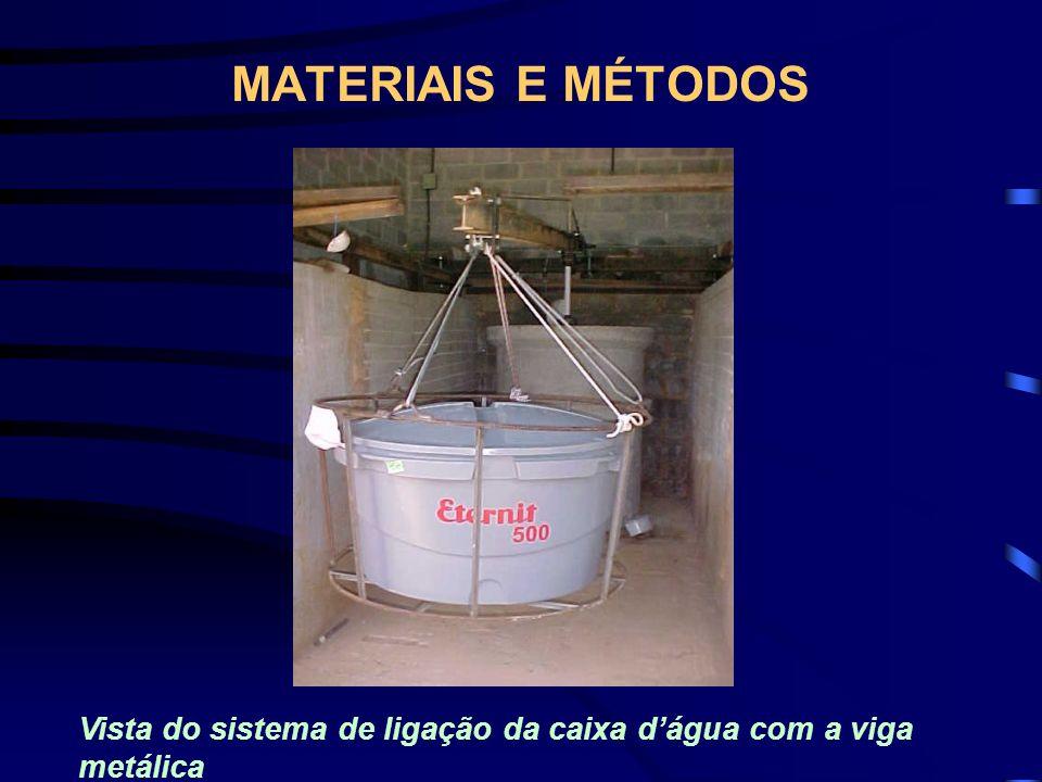 MATERIAIS E MÉTODOS Vista do sistema de ligação da caixa d'água com a viga metálica