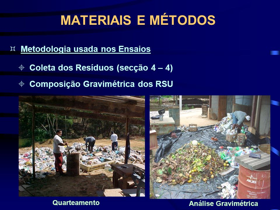 MATERIAIS E MÉTODOS Metodologia usada nos Ensaios