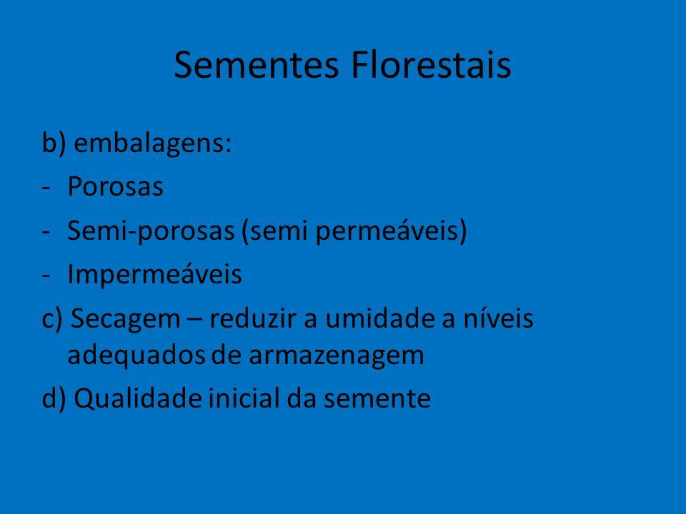 Sementes Florestais b) embalagens: Porosas