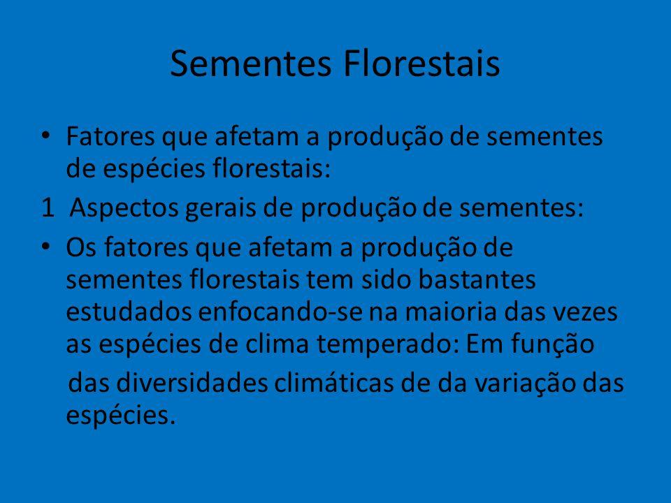 Sementes Florestais Fatores que afetam a produção de sementes de espécies florestais: 1 Aspectos gerais de produção de sementes: