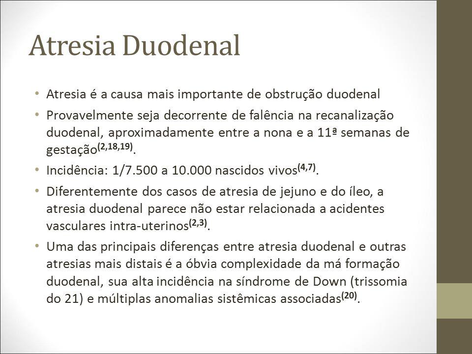 Atresia Duodenal Atresia é a causa mais importante de obstrução duodenal.