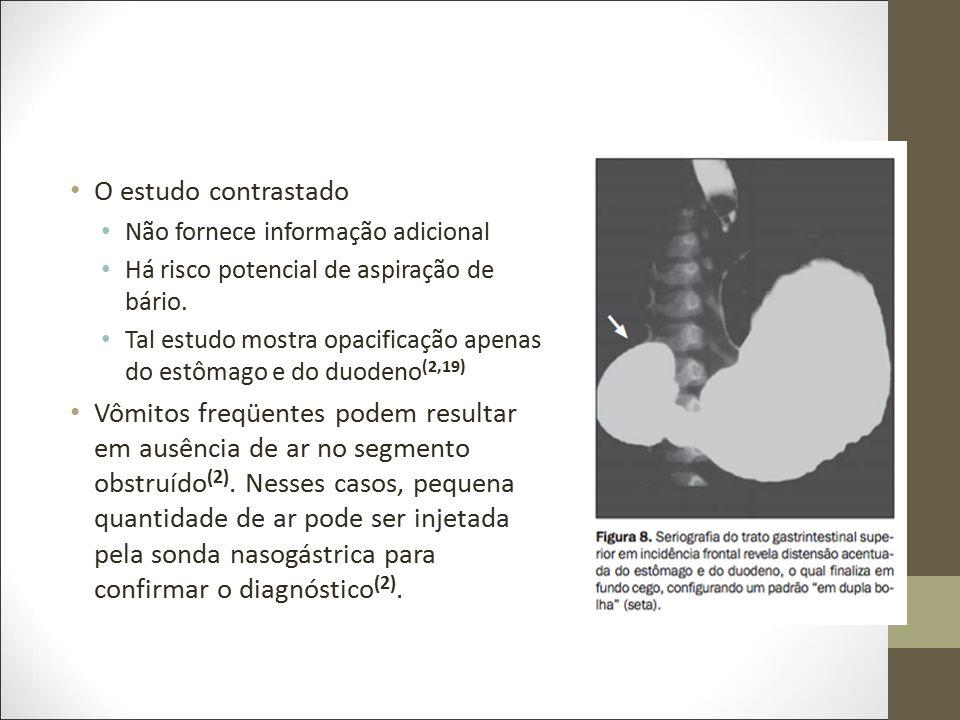 O estudo contrastado Não fornece informação adicional. Há risco potencial de aspiração de bário.