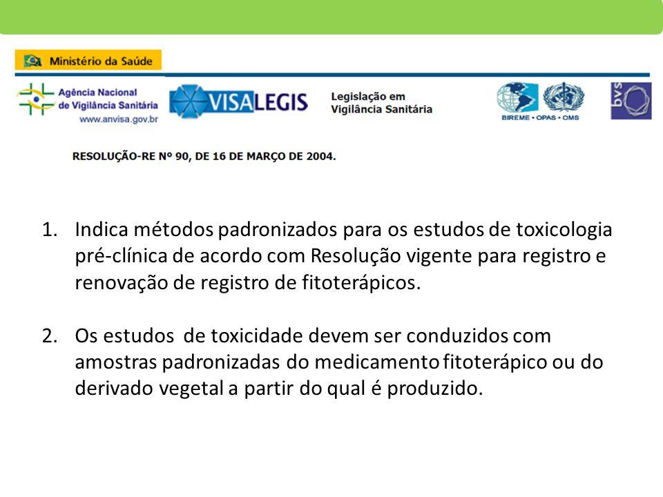 Indica métodos padronizados para os estudos de toxicologia pré-clínica de acordo com Resolução vigente para registro e renovação de registro de fitoterápicos.