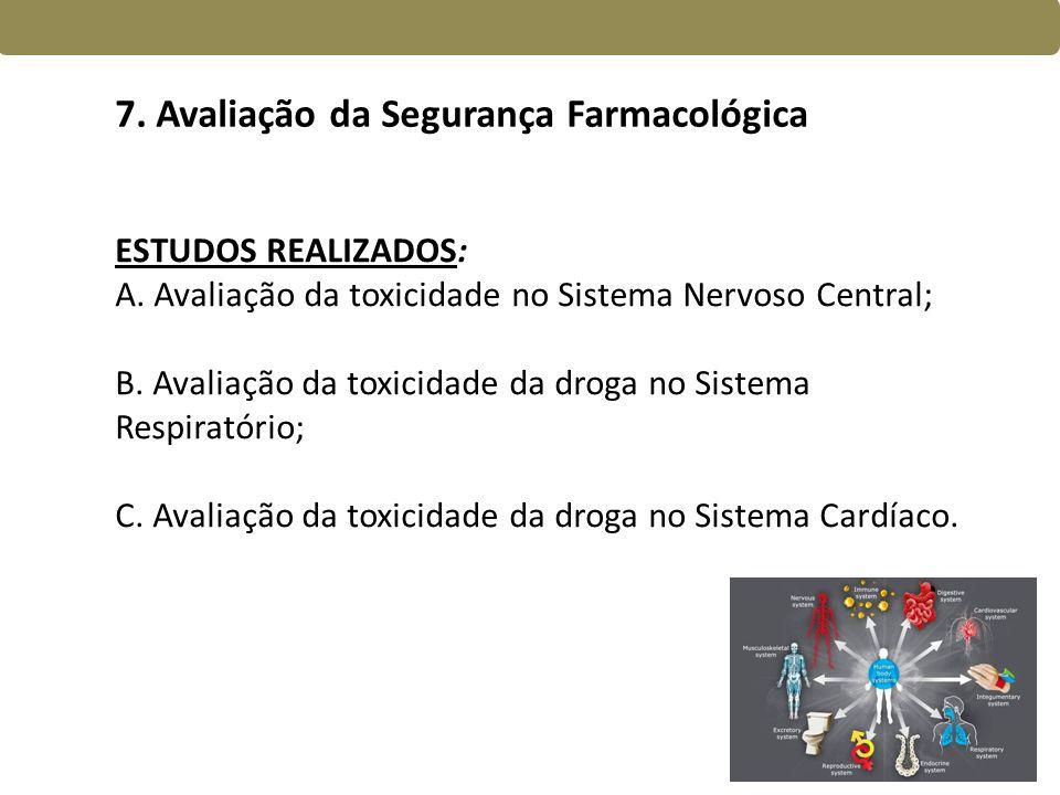 7. Avaliação da Segurança Farmacológica
