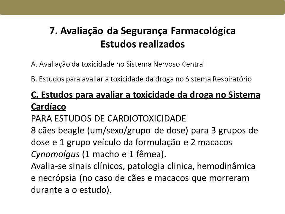 7. Avaliação da Segurança Farmacológica Estudos realizados
