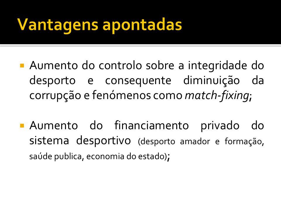 Vantagens apontadas Aumento do controlo sobre a integridade do desporto e consequente diminuição da corrupção e fenómenos como match-fixing;