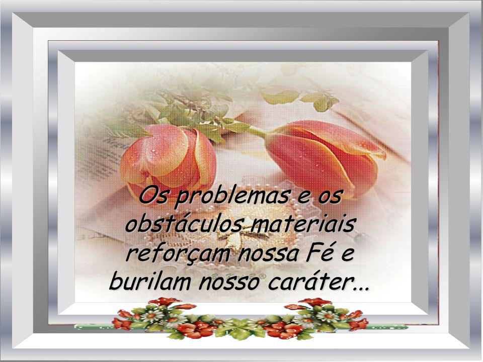 Os problemas e os obstáculos materiais reforçam nossa Fé e burilam nosso caráter...