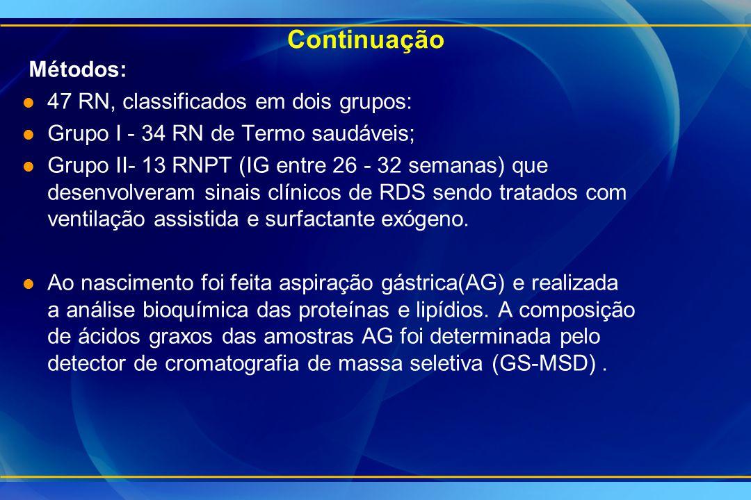 Continuação Métodos: 47 RN, classificados em dois grupos: