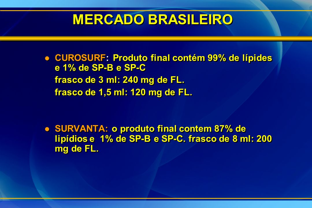 MERCADO BRASILEIRO CUROSURF: Produto final contém 99% de lípides e 1% de SP-B e SP-C. frasco de 3 ml: 240 mg de FL.