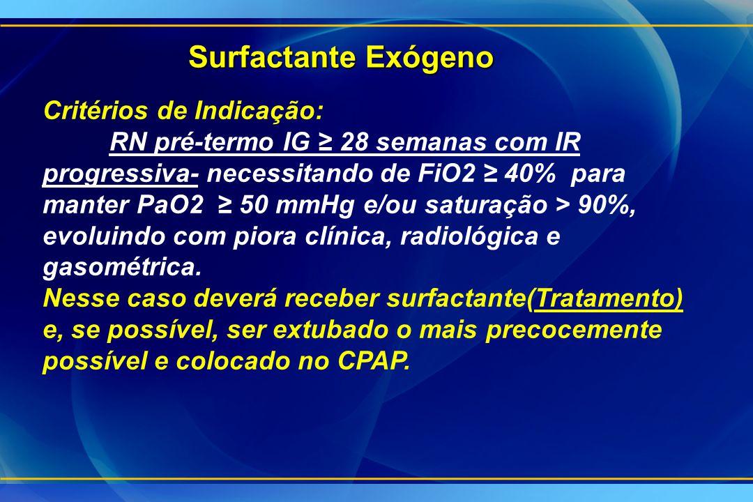 Surfactante Exógeno Critérios de Indicação: