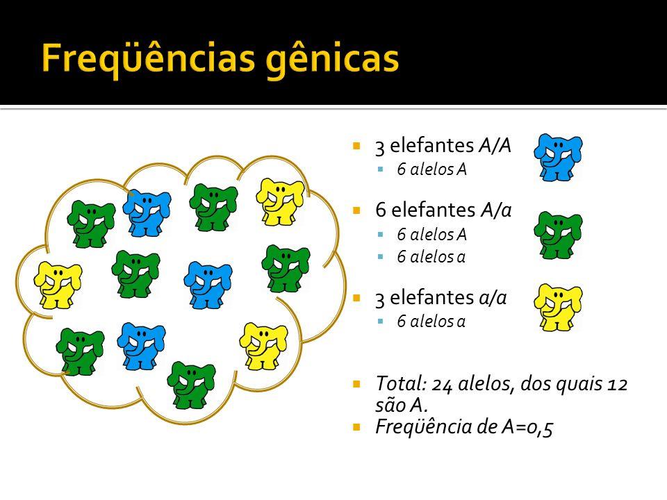 Freqüências gênicas 3 elefantes A/A 6 elefantes A/a 3 elefantes a/a