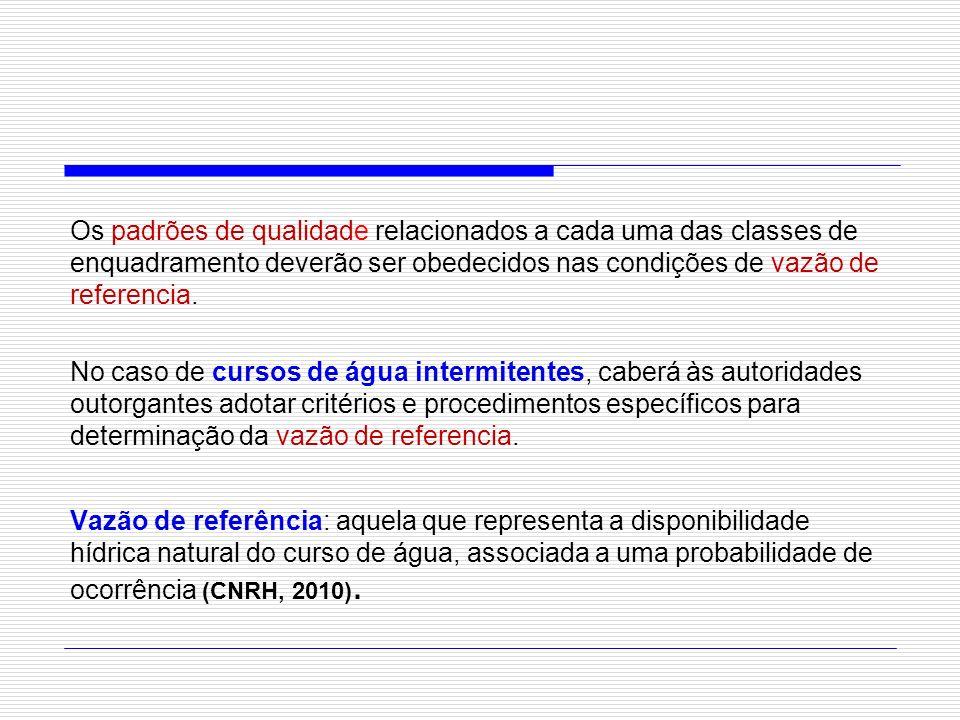 Os padrões de qualidade relacionados a cada uma das classes de enquadramento deverão ser obedecidos nas condições de vazão de referencia.
