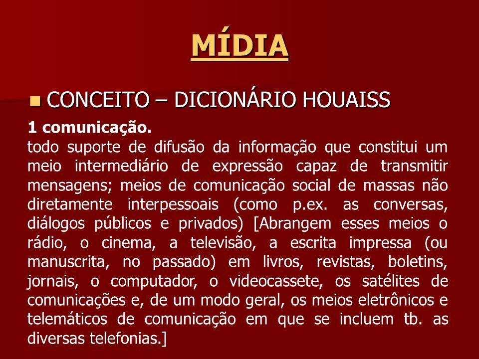 MÍDIA CONCEITO – DICIONÁRIO HOUAISS 1 comunicação.
