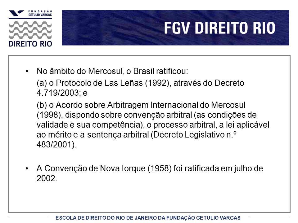 No âmbito do Mercosul, o Brasil ratificou: